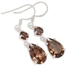 Smoky Quartz 925 Sterling Silver Earrings Jewelry E2164S