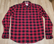 Levi's Modern Fit Mens Button Up Shirts XL Red Buffalo Plaid Snow Flake Pattern