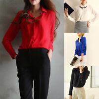 Fashion Women Chiffon Blouse Long Sleeve Shirt Women Tops Office Lady Top TeesYA