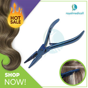 """Hair Extension Plier Bond Removal & Fitting Pliers 5"""" Stainless Steel Tools Blue"""