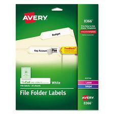 Avery Permanent File Folder Labels TrueBlock Inkjet/Laser White 750/Pack 8366