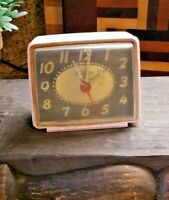 Vintage Sunbeam Electric Alarm Clock Made In USA vintage pink WORKS!!