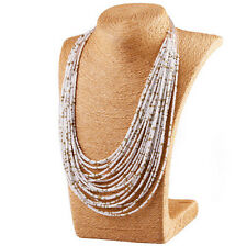 Fashion Women Mix Color Multilayer Seed Beads Choker Chunky Pendant Bib Necklace