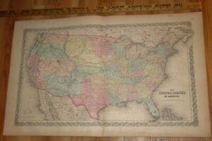 Original 1855 Colton's  Map of US of America Taken from Atlas