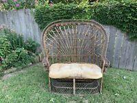 Vintage Bohemian Rattan Wicker Peacock Chair