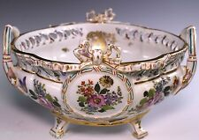 French Choisey-Le-Roy Limoges Gorgeous Hand Painted Ribbon Center Piece Bowl