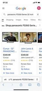 panasonic FS350 Series 32 inch, See Description For Defect.Perfect Working Order