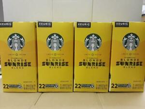Starbucks 4 Boxes Blonde Sunrise Blend K-Cup Pods Keurig 22 pods ea - BB 8/2020