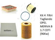 Kit 4  Filtri Tagliando OPEL MERIVA B 1.7 CDTI (96Kw)
