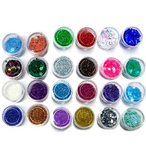 8x Mini Pots of Multi Colour Glitters and Sequins for Crafts and Nail Art