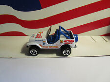 HOTWHEELS CJ- 7 JEEP LOOSE WHITE/ACTION NEWS ON IT FROM THE 5 PACK