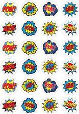 24 Super Hero Zap Pow Bam Retro Comic Book Cupcake Cake Toppers Rice Wafer Paper