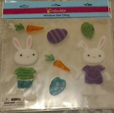 Cottondale Window Gel Cling Decoration Boy & Girl Rabbit with Carrots & Eggs