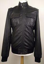 Ted Baker Men's Black Leather Jacket Size 3 Medium M