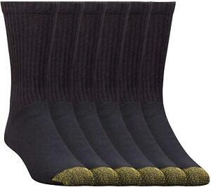 Gold Toe Men's 656S Cotton Crew Athletic Sock Multi-Pack, Black, Black, Size 6.0