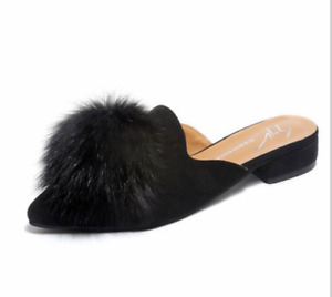 Lady Pointed Toe Faux Suede High-Heeled Shoes Non-Slip Thick Heel Slippers Mules