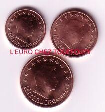 Pièces de 1,2,5cts euros du Luxembourg 2004.