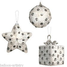 3 Assorted Christmas WHITE Polka Diamond Sparkle Hanging Baubles Decorations