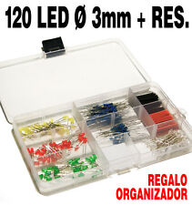 120 Led surtidos  Ø 3 mm + 120 Resistencias + Organizador y Retractil GRATIS !!