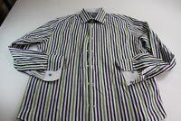 Robert Graham Stripe LONG SLEEVE DRESS SHIRT Large 16.5 x 35/36 Cotton SIlk