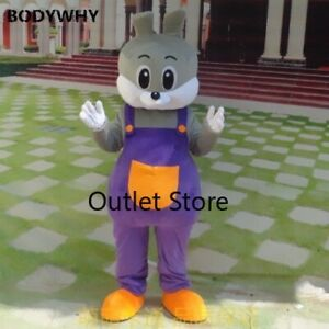 Easter Grey Rabbit Bunny Fancy Cartoon Mascot Costume Plush Christmas  Dress