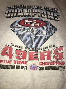 Vtg Starter SF 49ers 90s Sweatshirt Super Bowl 75th Diamond Heather Gray Logo 7