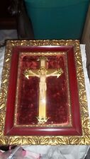 Religious Picture  Deep Frame with Jesus on Brass Cross, Concave glass;  velvet