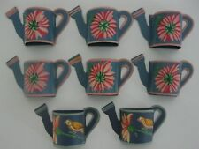 VINTAGE Tole Toleware NAPKIN RINGS HAND PAINTED Watering Can Floral Bird SET 8