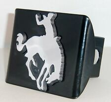 Bucking Bronco Horse with Rodeo Rider Chrome Metal Black Hitch Cover