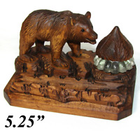 Antique Black Forest Carved Wood Inkwell, Bear Figure with Log Pen Holder, Stand