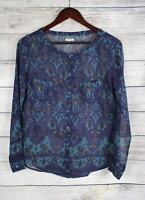 ECOTE Urban Outfitters Womens Blue Paisley Sheer Blouse Top SMALL