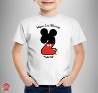 Micky Mouse Personalised T-SHIRT Girls Kids Happy Birthday 1st 2nd 3rd 4th 5th