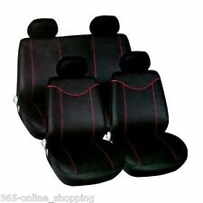 UNIVERSAL CAR SEAT COVERS Inc Headrests Black And Red Washable & Airbag Safe
