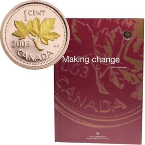 2003 Royal Canadian Mint Annual Report with Gold Plated 1 cent