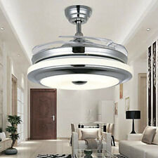 "42"" Retractable Ceiling Fans with Lights Modern Remote Control Chandelier Lamps"