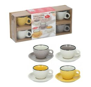Espresso Cups & Saucers Serving Set Of 4 Ceramic Coffee Shot Mugs Mini 8PC 90ml