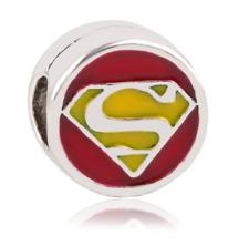 NEW Silver Superman Superhero Charm Necklace Bracelet Pendant DIY Jewelry Bead