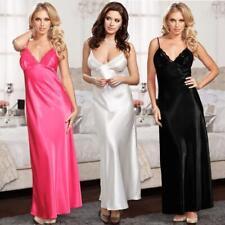 Womens Satin Long Nightdress Silk Lace Lingerie Nightgown Sleepwear 3Colors