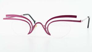 Theo Belgium Glasses Model Fly 31 Crazy Half Rim Eye Frame Oval Metal Pink Lady