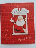 1955 Vtg SANTA Swing Away WINDOW Embossed Brick CHRISTMAS GREETING CARD