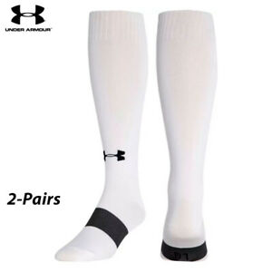 UA Socks: 2-PAIR Performance Over the Calf IRREG (YL)- White