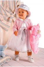 ABITO VESTITO COMPLETINO DA BATTESIMO DAMIGELLA bianco rosa tg 10-16 mesi cd 335