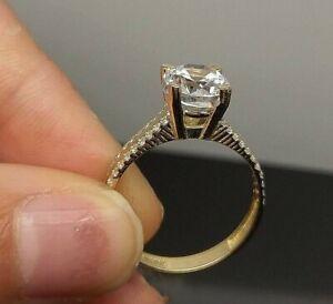 Real 10k Yellow Gold 1CT Diamond Look Ladies Bridal Wedding/ Engagement Ring