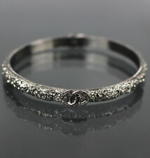 CHANEL A14P CC Silver-tone Brass & Rhinestones Bracelet Bangle #46853 from Japan