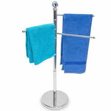 Porta Asciugamani Piantana da terra con 3 Aste Girevoli Base Rotonda in Acciaio