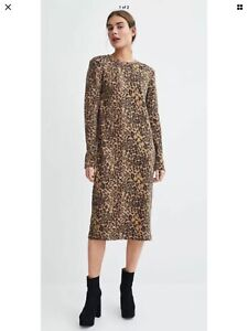 Zara Leopard Jumper Knitted Dress Size S