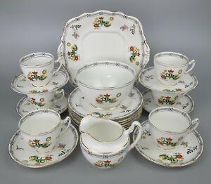 Superb vintage 1930's R&D Balmoral China Tea Set. Hand painted. Cups Plates.