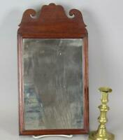 A FINE EARLY 18TH C COUNTRY QUEEN ANNE MIRROR SCALLOPED CREST WALNUT ON PINE