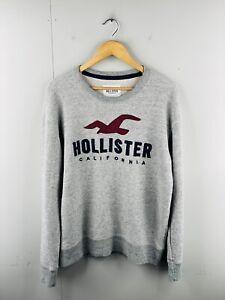 Hollister Men's Vintage Long Sleeve Knit Pullover Logo Jumper Size M Grey