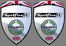 2 autocollants stickers fond chrome TRIUMPH SPITFIRE 4 ( idéal pour aile avant)